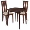 Westport 3 Piece Walnut Wood Dining Table Set with Vertical Wide Slat Back Wood Dining Chairs - Padded Seats [ES-82-GG]