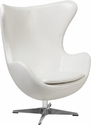Melrose White Leather Egg Chair with Tilt-Lock Mechanism [ZB-10-GG]