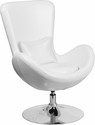 Egg Series White Leather Side Reception Chair [CH-162430-WH-LEA-GG]