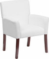 White Leather Executive Side Reception Chair with Mahogany Legs [BT-353-WH-GG]