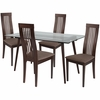 Willows 5 Piece Espresso Wood Dining Table Set with Glass Top and Framed Rail Back Design Wood Dining Chairs - Padded Seats [ES-149-GG]