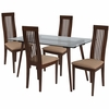 Willows 5 Piece Walnut Wood Dining Table Set with Glass Top and Framed Rail Back Design Wood Dining Chairs - Padded Seats [ES-163-GG]