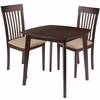 Windsor 3 Piece Espresso Wood Dining Table Set with Rail Back Wood Dining Chairs - Padded Seats [ES-69-GG]
