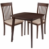 Windsor 3 Piece Walnut Wood Dining Table Set with Rail Back Wood Dining Chairs - Padded Seats [ES-83-GG]