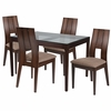 Winslow 5 Piece Espresso Wood Dining Table Set with Glass Top and Curved Slat Keyhole Back Wood Dining Chairs - Padded Seats [ES-88-GG]