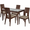 Winslow 5 Piece Walnut Wood Dining Table Set with Glass Top and Curved Slat Keyhole Back Wood Dining Chairs - Padded Seats [ES-102-GG]