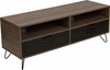 Woodridge Collection Rustic Wood Grain Finish TV Stand with Metal Drawers and Black Metal Legs [NAN-JN-21735TR-GG]