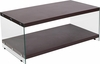 Wynwood Collection Dark Ash Wood Grain Finish Coffee Table with Glass Frame and Shelves [NAN-JN-2626CT-G-GG]