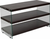 Wynwood Collection Dark Ash Wood Grain Finish TV Stand with Shelves and Glass Frame [NAN-JN-2626TR-G-GG]