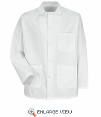 0406 Gripper-Front White Short Butcher Coat