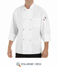 0413WH White Eight Pearl Button Chef Coat