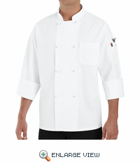 0414WH White Eight Knot-Button Chef Coat w\Thermometer Pocket