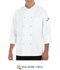 0415WH White Ten Pearl Button Chef Coat
