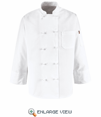 0421WH White Ten Knot-Button Chef Coat