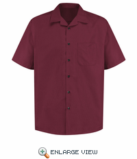 1K00BU Microfiber Convertible Collar Burgundy/Black Shirt