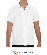 5028WH White Short Sleeve Button Front Cook Shirt