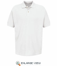 7701WH Men's White Polo Basic Pique