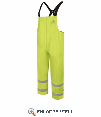 BXN6YE  Hi-Visibility Yellow/Green Flame Resistant Rain Bib Overall