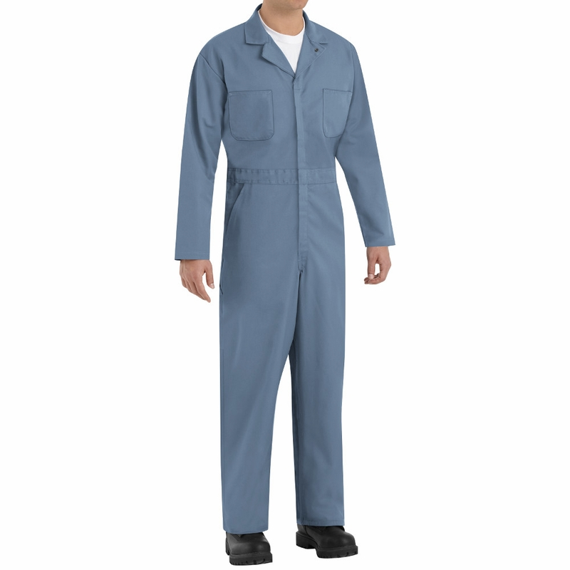 b8aca6c04c73 CT10PB Postman Blue Twill Action Back Coveralls by Red Kap
