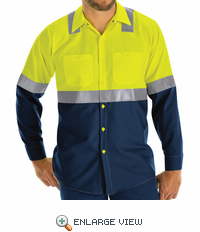 Hi Vis ShortSleeve Workshirt w/Refective Trim - SY14YN