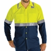 SY14YN Hi Vis ShortSleeve Workshirt w/Refective Trim