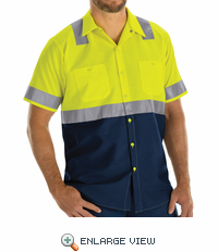SY24YN Hi Vis ShortSleeve Workshirt w/Refective Trim