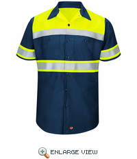 Hi-Visibility Ripstop SS Work Shirts Navy -Type O Class 1