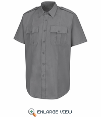 HS1209 Men's New Dimension® Stretch Poplin Grey Short Sleeve Shirt