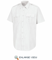 HS1212 Men's New Dimension® Stretch Poplin White Short Sleeve Shirt