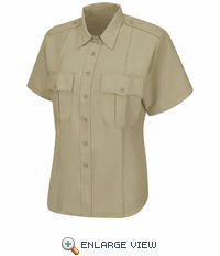 HS1248 Men's Tan Sentry® Plus Short Sleeve Shirt With Zipper