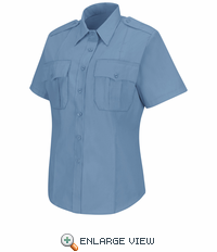 HS1268 Women's New Dimension® Stretch Poplin Light Blue Short Sleeve Shirt