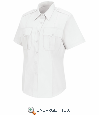 HS1270 Women's New Dimension® Stretch Poplin White Short Sleeve Shirt