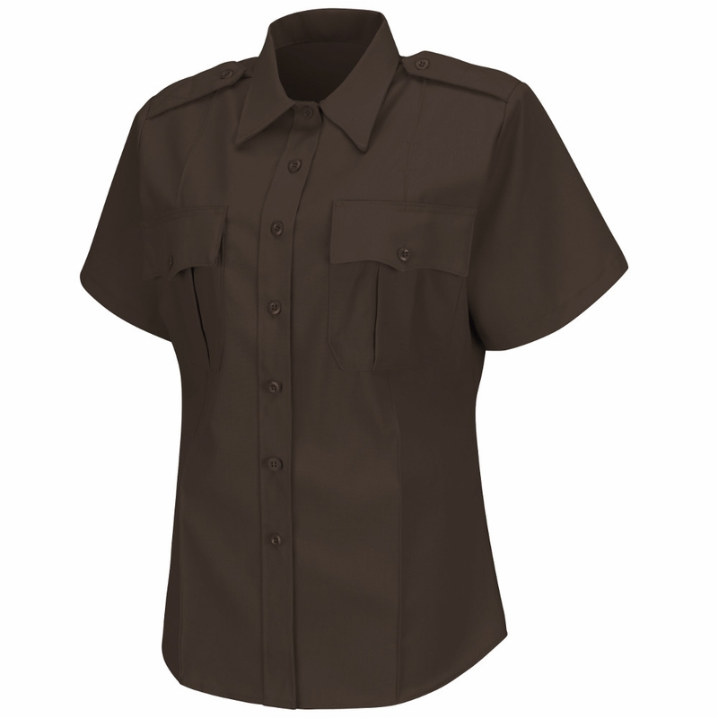 Hs1273 Women 39 S Brown Deputy Deluxe Short Sleeve Uniform Shirt