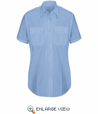 HS1527 Women's New Dimension® Plus Light Blue Short Sleeve Poplin Shirt