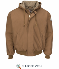 JLH6 Brown Duck Hooded Jacket with Knit Trim