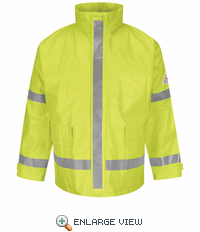 JXN6YEa Hi-Visibility Yellow/Green Flame-Resistant Rain Jacket HRC1