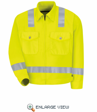 JY32HV Fluoresnt Yellow/Green Hi-Visibility Jacket - ANSI 107-2004 Class 2 Level 2