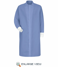KS60LB Gripper-Front Spun Polyester Pocketless Lt Blue Butcher Coat w/ Knit Cuffs