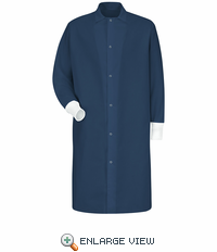 KS60NV Gripper-Front Spun Polyester Pocketless Navy Butcher Coat with Knit Cuffs