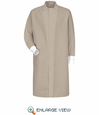 KS60TN Gripper-Front Spun Polyester Pocketless Tan Butcher Coat with Knit Cuffs