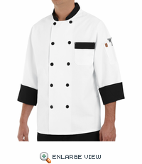 KT74BT White with Black Trim Garnish Chef Coat