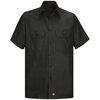 Men's Black Solid Ripstop Work Shirt - Short Sleeve
