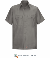 Men's Grey Solid Ripstop Work Shirt - Short Sleeve