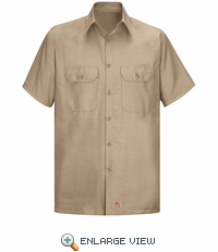 Men's Khaki Solid Ripstop Work Shirt - Short Sleeve