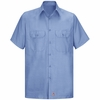 Men's Light Blue Solid Ripstop Work Shirt - Short Sleeve