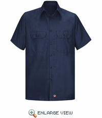 Men's Navy Solid Ripstop Work Shirt - Short Sleeve