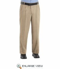 PC46KH Men's Khaki Pleated Front Cotton Casual Pant