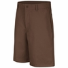 PT26BN Men's Brown Plain Front Shorts