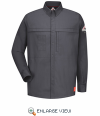 QS20CH iQ Series® Long Sleeve Concealed Pocket Charcoal Shirt