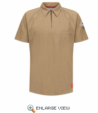 QT10KH iQ Series® Men's Khaki Short Sleeve Polo